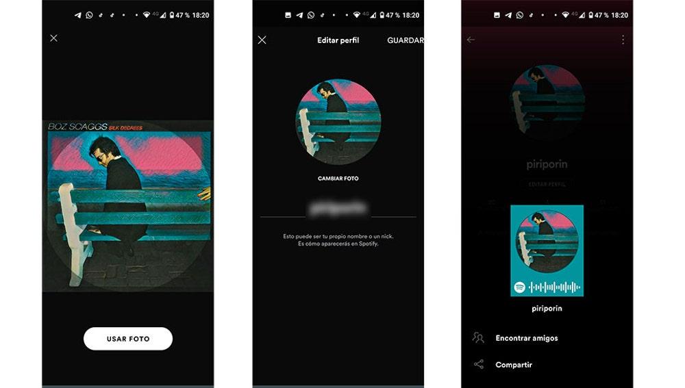 Cambiando la foto de perfil de Spotify