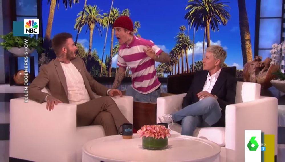 El susto de Justin Bieber a David Beckham en plena entrevista con Ellen Degeneres