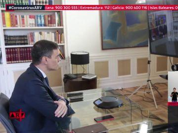 La imagen institucional de la crisis por coronavirus: reunión por videoconferencia entre Sánchez y sus ministros