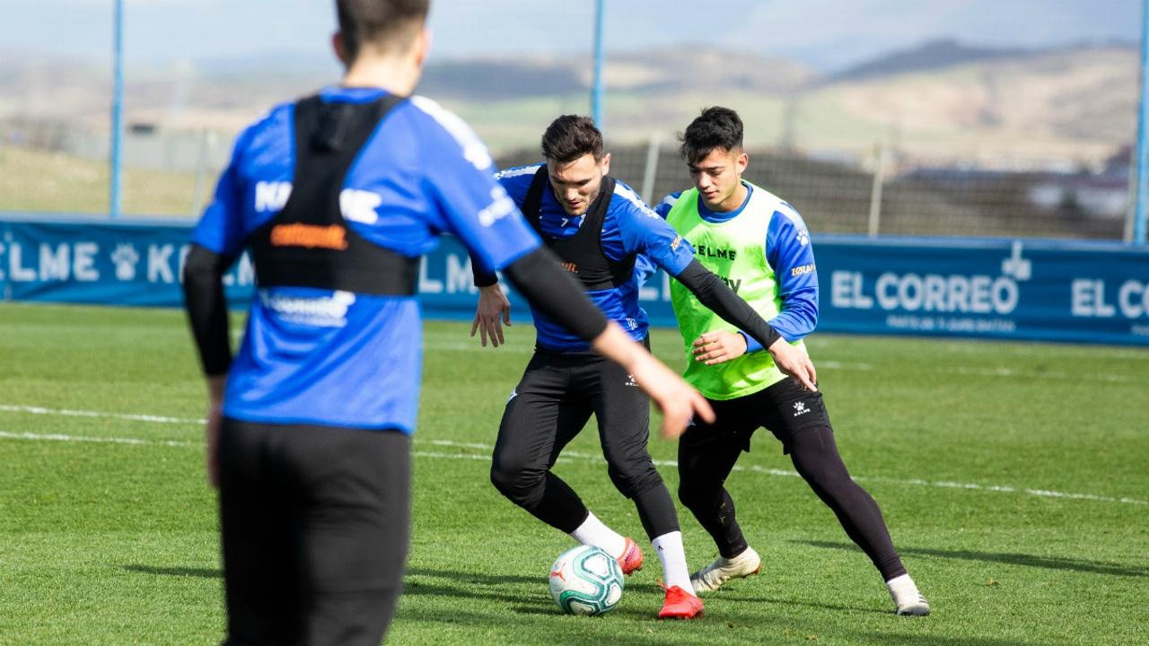 Lucas Pérez, en un entrenamiento