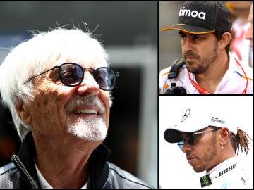 Bernie Ecclestone, con Fernando Alonso y Lewis Hamilton