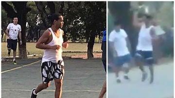Ronaldinho, jugando un partido en la cárcel