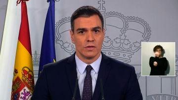 Pedro Sánchez, durante la comparecencia