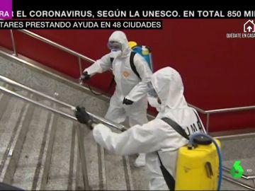 La UME, desinfectando una estación