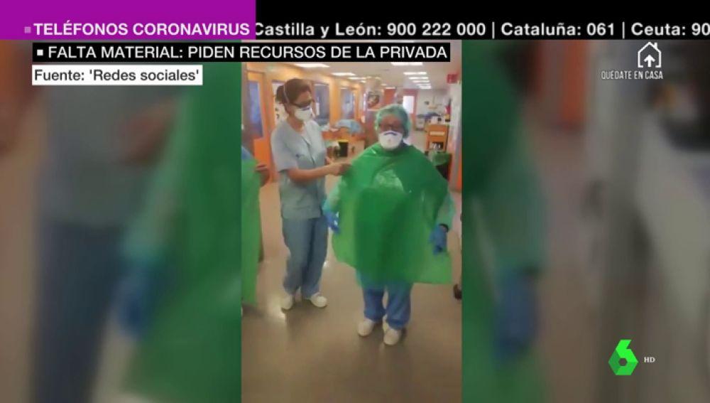 Sanitarios de Soria usan bolsas de basura para protegerse del coronavirus