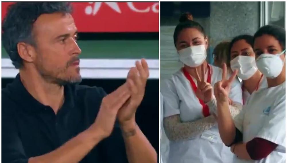 Personal sanitario y Luis Enrique