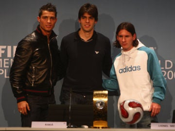 Cristiano Ronaldo, Kaká y Leo Messi