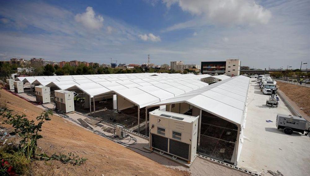 Prosigue el montaje de la estructura del hospital de campaña junto a La Fe