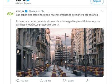 Vox desata la polémica al compartir un montaje de la Gran Vía llena de féretros