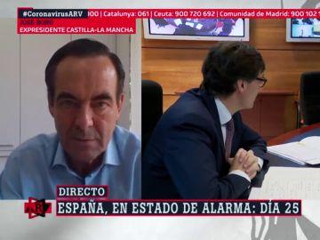 """José Bono: """"El PP no puede decir que el Gobierno tiene comportamientos letales, de ahí a acusarles de asesinato hay un paso"""""""