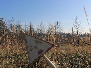 Señal de peligro por radiactividad en la zona de exclusión de Chernóbil