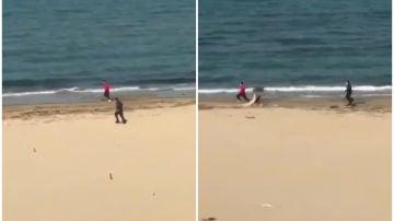 Un 'runner' escapa de un policía