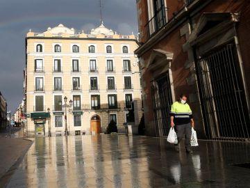 Calle Mayor de Madrid, vacía por la crisis del coronavirus