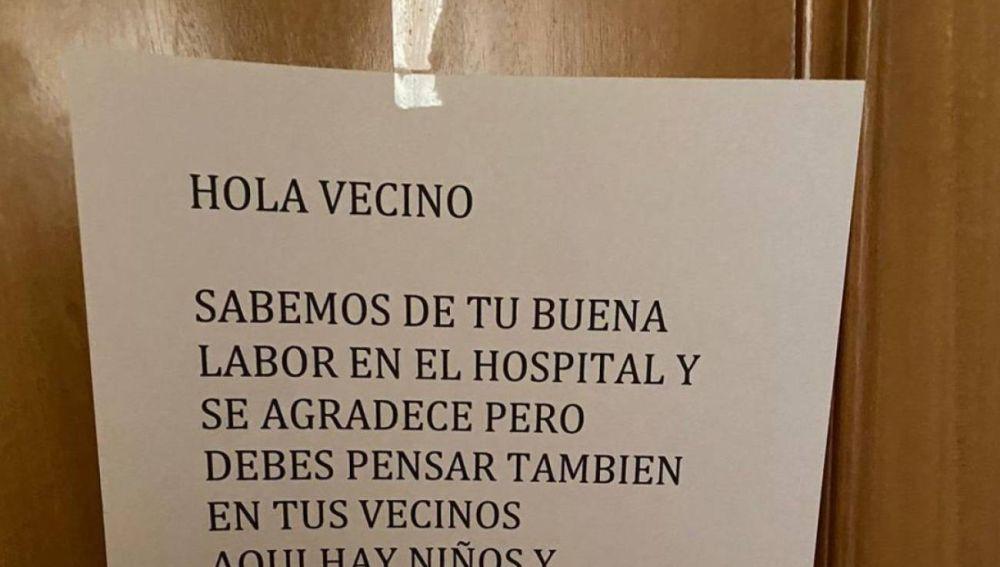 La nota de un vecino a un sanitario en Alcázar de San Juan