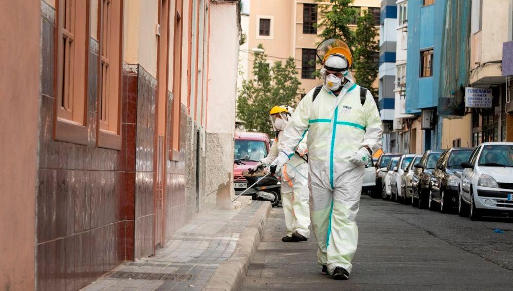 Operarios del Ayuntamiento de Las Palmas de Gran Canaria realizan labores de desinfección de la vía pública
