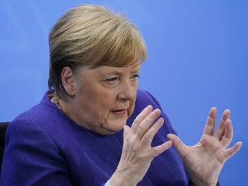 La canciller alemana, Angela Merkel, durante una comparecencia