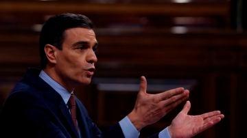 Pedro Sánchez durante el debate sobre la prórroga del estado de alarma