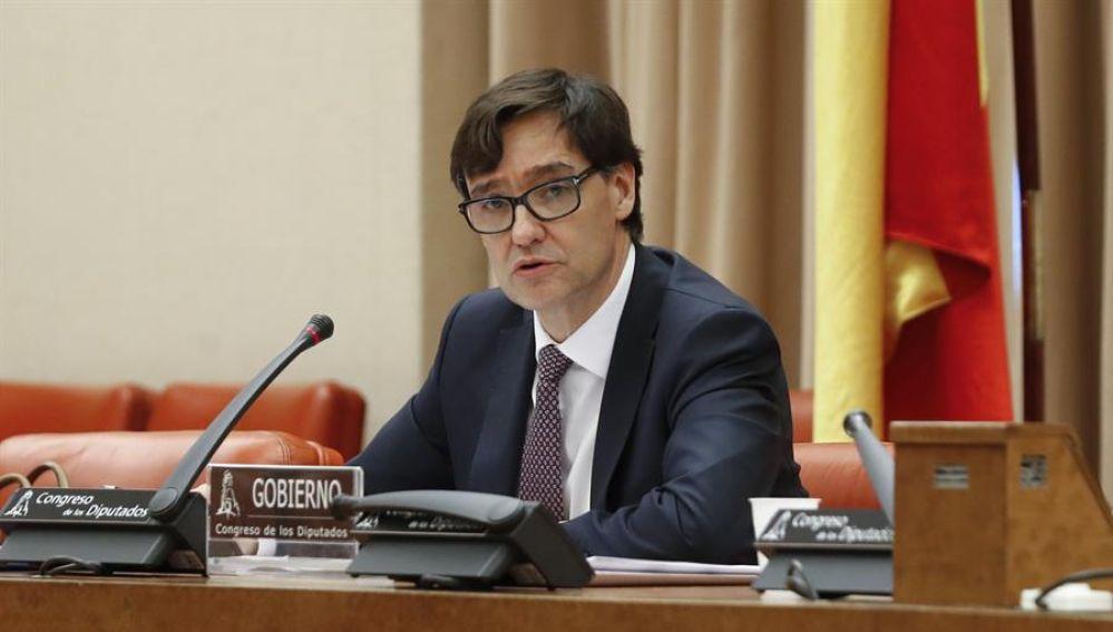 El ministro de Sanidad, Salvador Illa, comparece ante la Comisión de Sanidad en el Congreso de los Diputados.