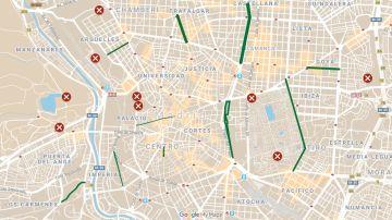 Mapa de los parques abiertos y calles peatonalizadas en Madrid