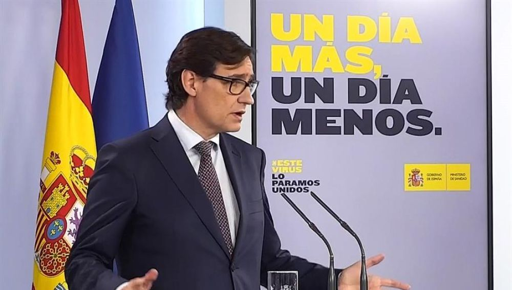 Salvador Illa en rueda de prensa telemática desde La Moncloa
