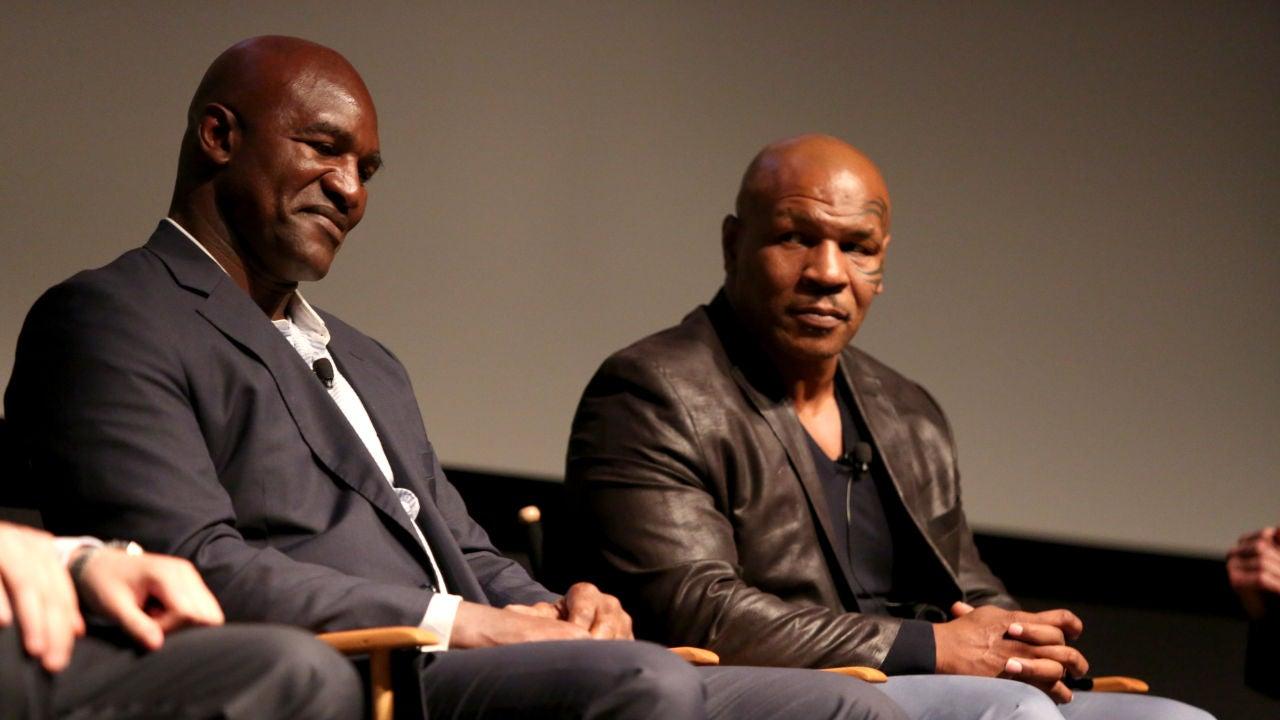Evander Holyfield y Mike Tyson, en un acto en Nueva York