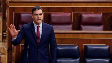 El presidente del Gobierno, Pedro Sánchez durante la sesión de control al ejecutivo en el Congreso.
