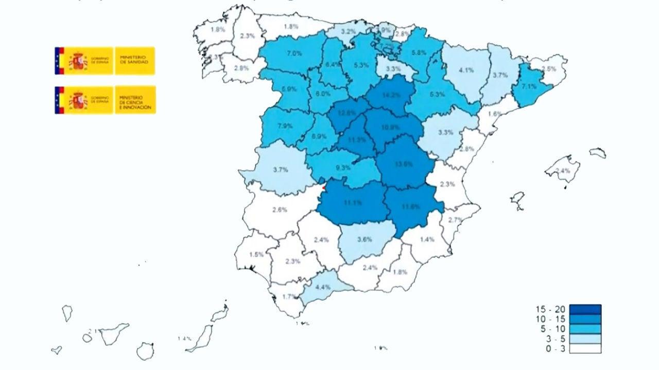 Mapa del estudio de seroprevalencia en España
