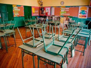 Aula desierta en un colegio público de Madrid