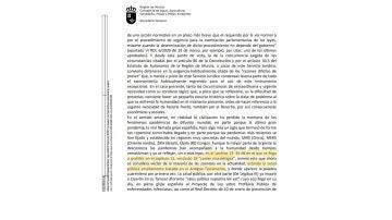 Informe jurídico de la Consejería de Agua, Agricultura, Ganadería, Pesca y Medio Ambiente de la Región de Murcia