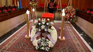 Féretro de Julio Anguita en su capilla ardiente
