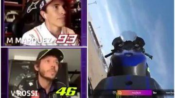 Márquez, Rossi... y Valentino por los aires