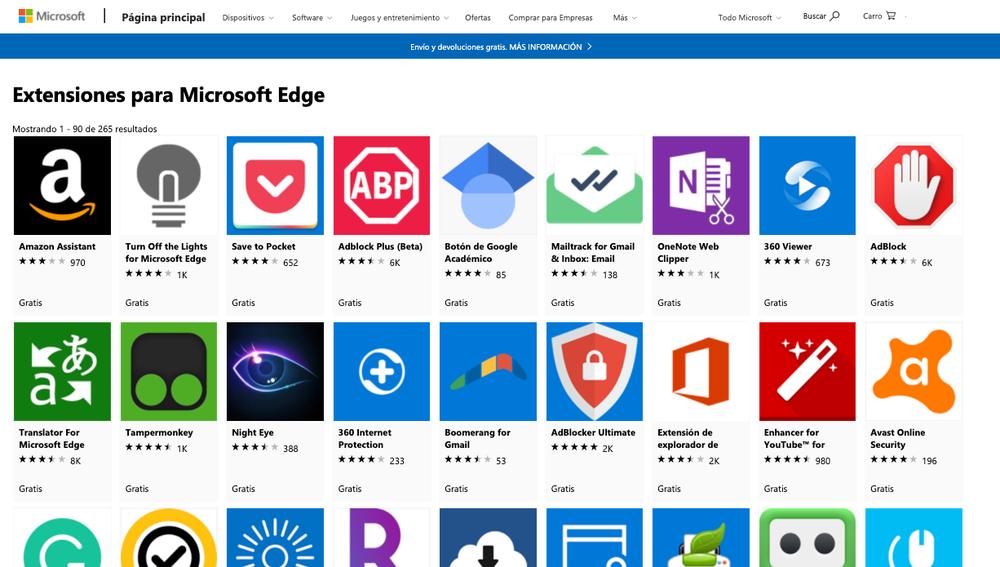 Web Store de Microsoft Edge.