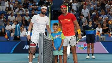 Nikoloz Basilashvili y Rafa Nadal