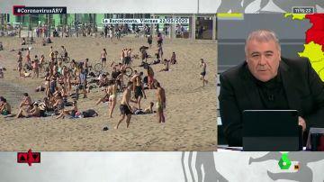 """Ferreras muestra las imágenes de las playas llenas: """"Algunos estaban diciendo 'es mentira'"""""""