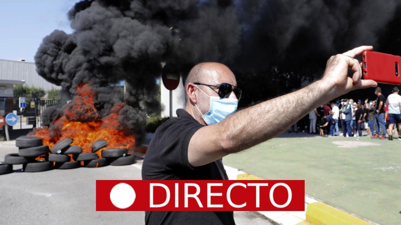Cierre de la planta de Nissan de Barcelona: corte de carreteras y barricadas, en directo