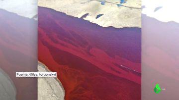 Impactantes imágenes satélites del vertido de 21.000 toneladas de fuel en el Ártico