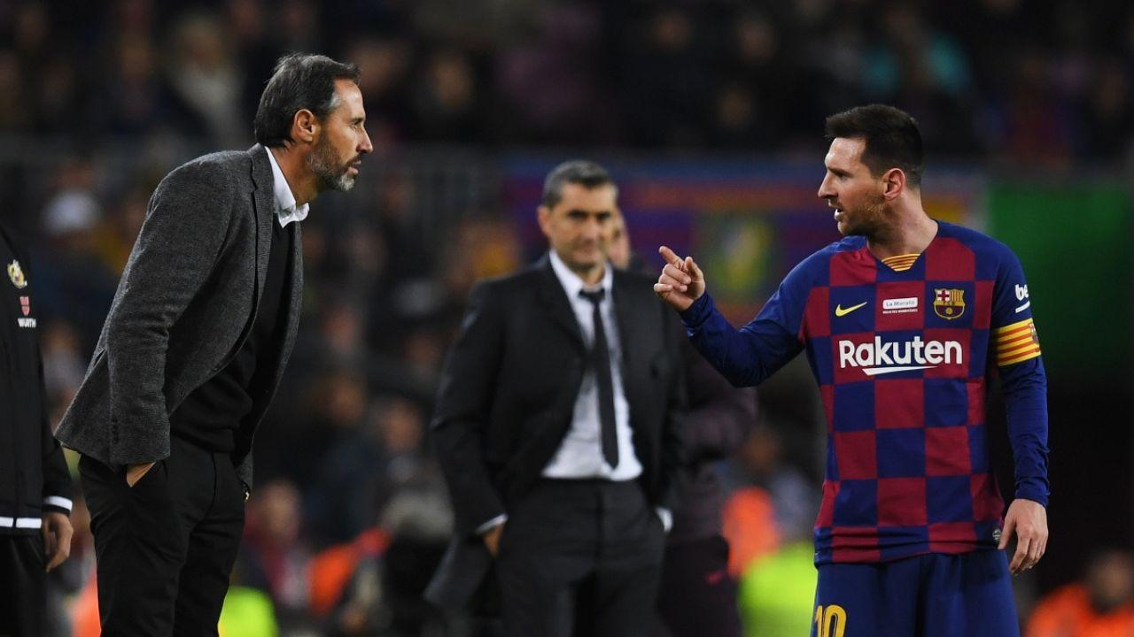 Vicente Moreno y Lionel Messi
