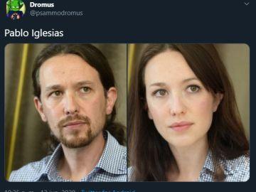 Imagen del hilo viral de un usuario que cambia de género a los políticos españoles
