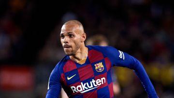Martin Braithwaite, en un partido con el Barcelona