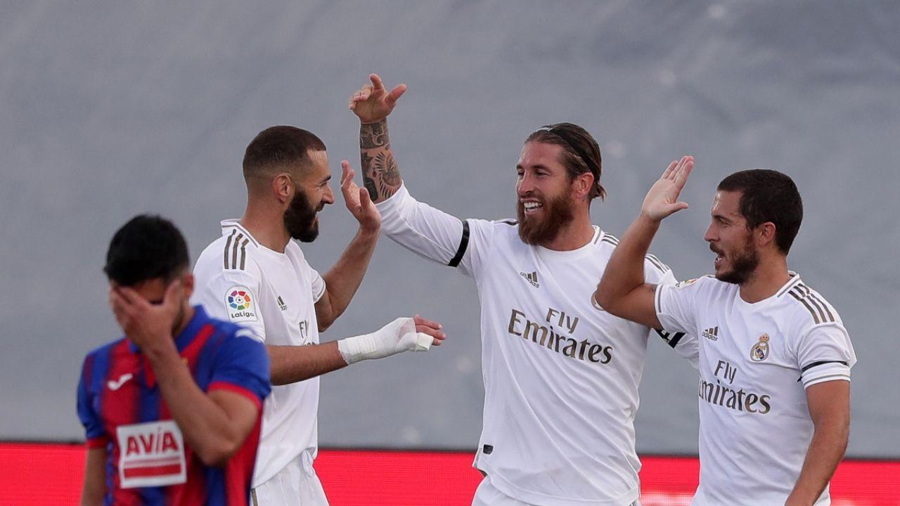 Ramos, Hazard y Benzema celebran un gol
