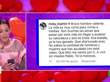 """""""La vida es muy corta para vivirla a medias. A vivir sin miedos"""": el emotivo mensaje de Ricky Martin a Pablo Alborán"""