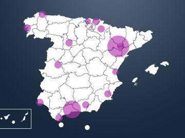 Mapa de los rebrotes