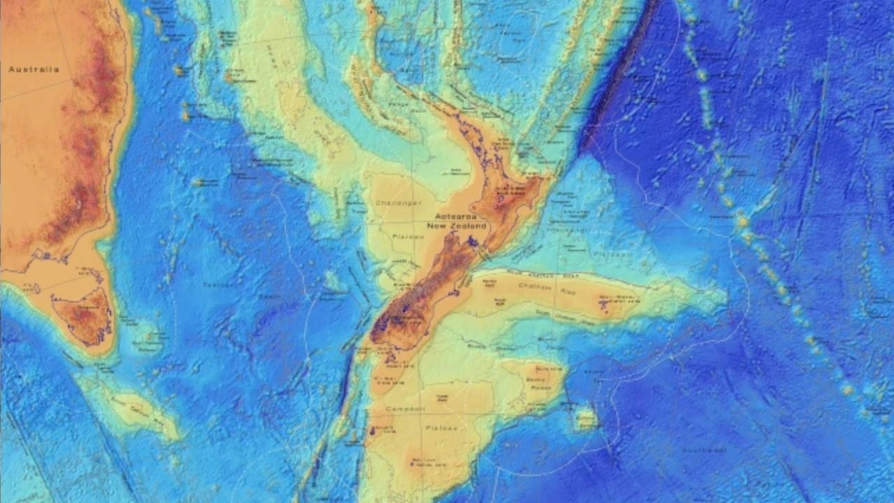 Mapa batimétrico de Zelandia, el llamado 'octavo continente'