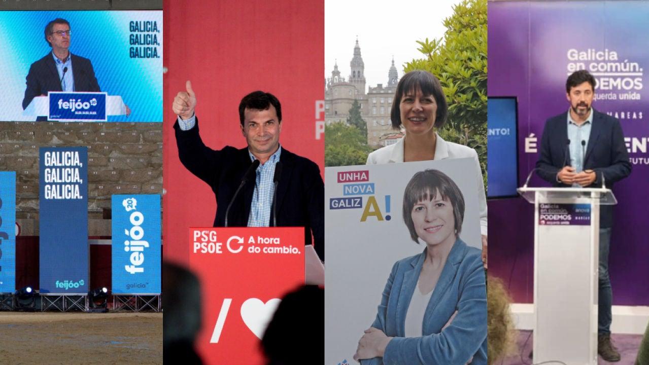 Principales candidaturas que concurrirán a las elecciones gallegas del próximo 12 de julio