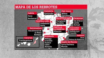Mapa de los rebrotes de Covid-19 en España