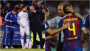 Cesc Fábregas, junto a José Mourinho y a Pep Guardiola