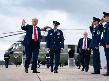 Donald Trump a su llegada a Miami