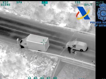 Imagen de la persecución policial a una banda de narcotraficantes