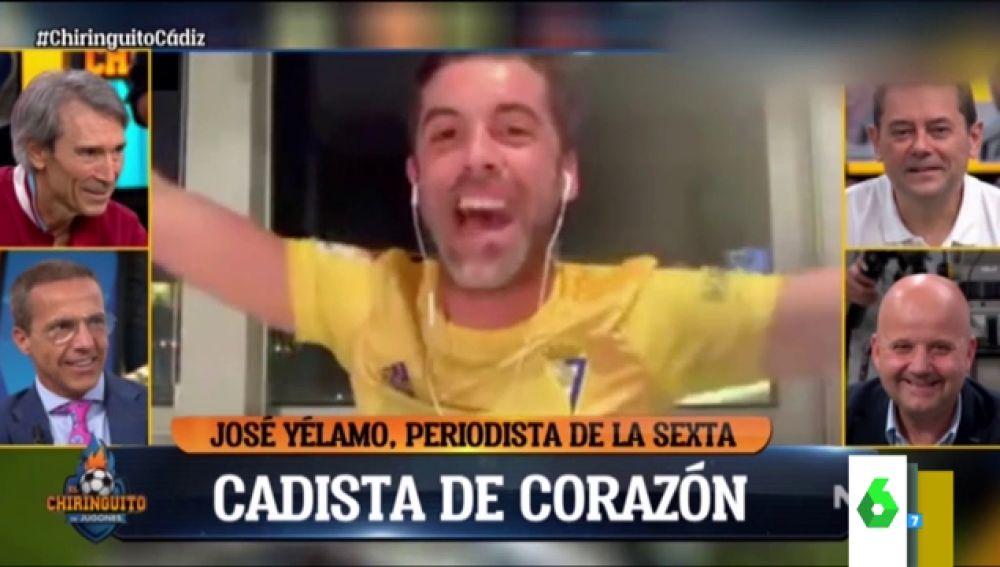 La euforia de José Yélamo al celebrar el ascenso del Cádiz: cantando y con una copa de champán
