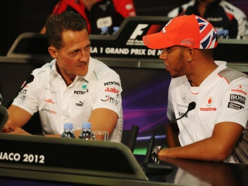 Michael Shumacher y Lewis Hamilton